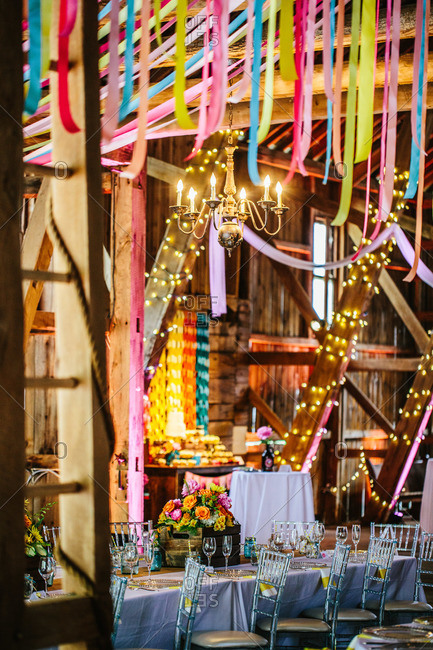 Barn set up for wedding reception
