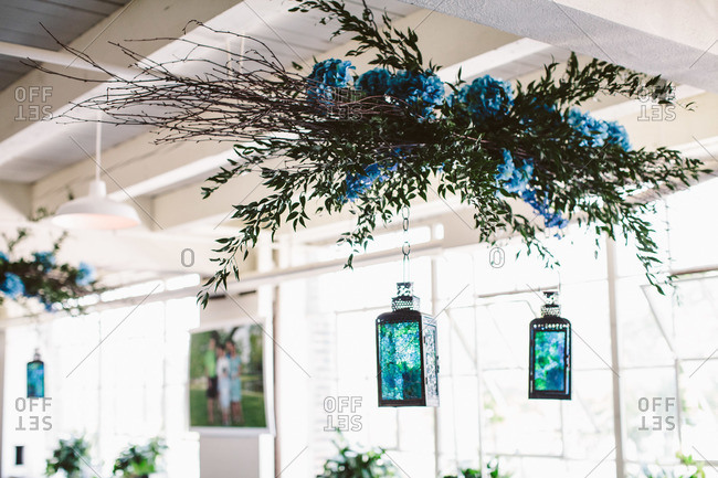 Flowers and lamps hanging for wedding decor