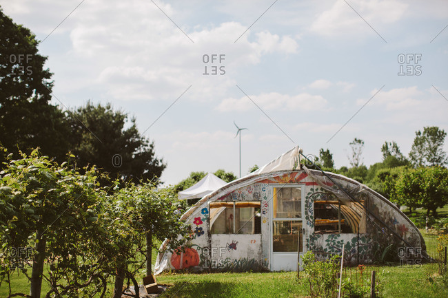 Greenhouse in rural country setting