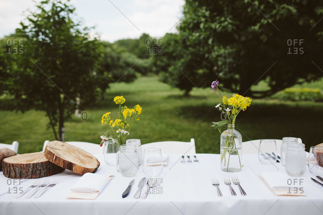 Table set for dinner in countryside