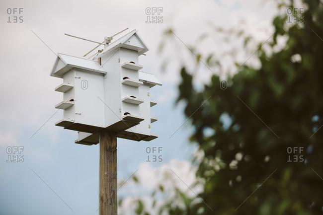 Multi-level birdhouse on post
