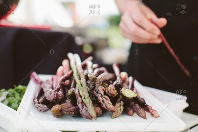 Plate of fresh asparagus tips