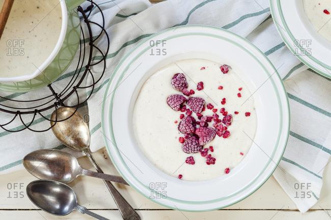 Vanilla custard with raspberries