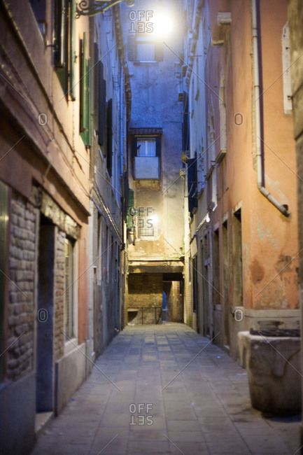 Alley at night in Venice, Italy