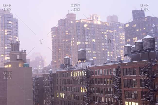 Foggy winter evening in New York City