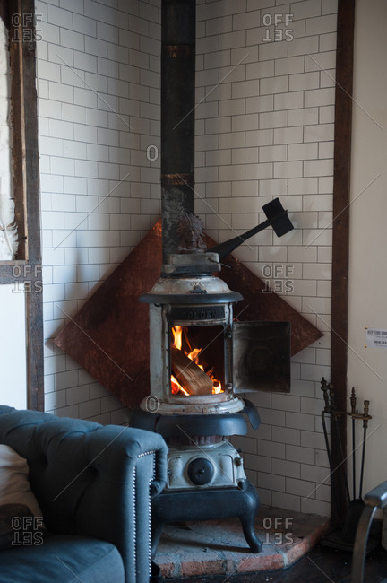 Fire burning in a wood stove
