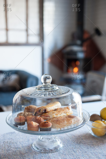 Pastries in a glass dome