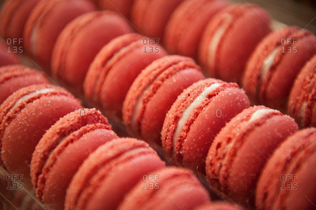 A tray of red macarons