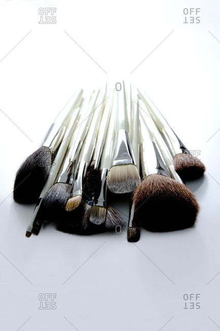 Grouping of natural fiber makeup brushes