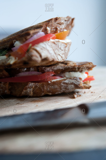 Close up view of sandwich with cheese, tomato and red onion on rustic bread