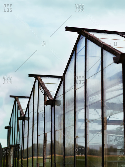 Exterior view of peaked roofs of greenhouse
