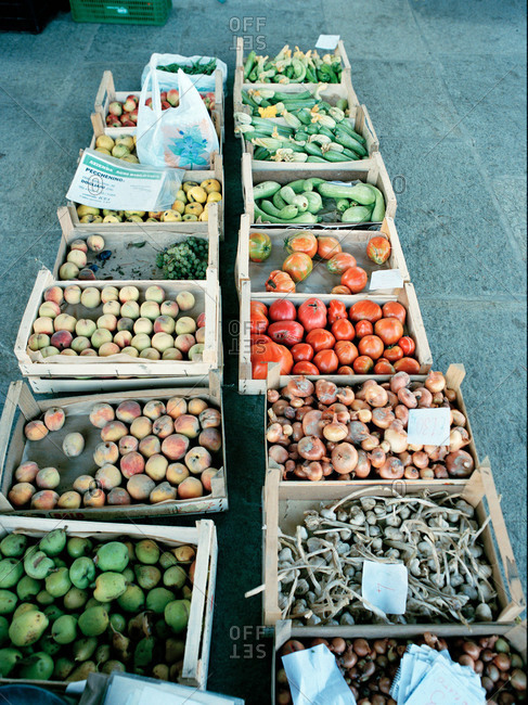 Wooden crates of fruits and vegetables in a market