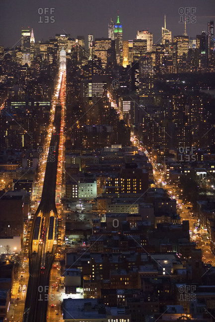 Busy avenues at night in New York City