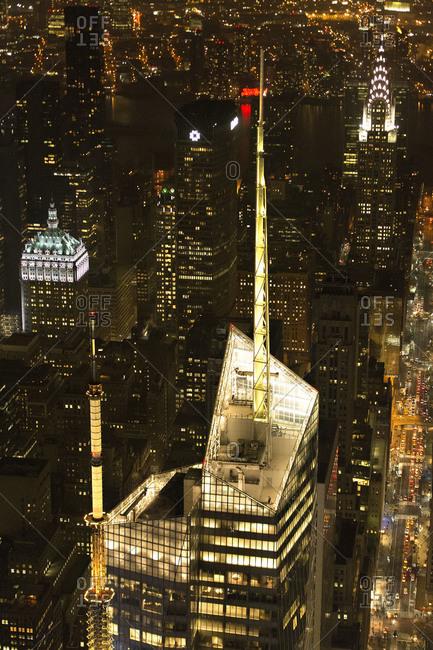 New York City, NY, USA - April 24, 2013: Midtown Manhattan at night