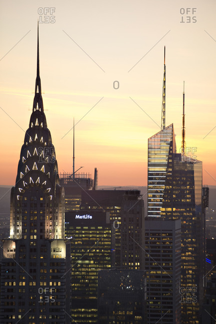 New York City, NY, USA - May 1, 2013: The Chrysler Building and other skyscrapers at sunset