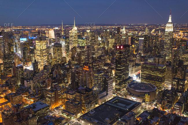 Manhattan at night, NYC, USA