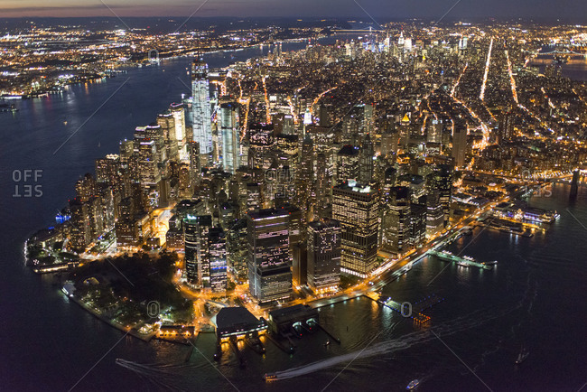High angle view of Lower Manhattan at night, NYC, USA