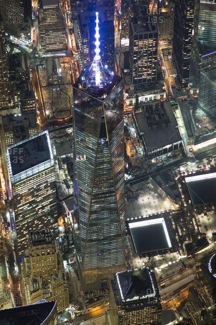 New York City, NY, USA - February 10, 2014: High altitude view of One World Trade Center