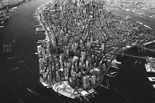 Bird's eye view of Manhattan in black and white, NYC, USA