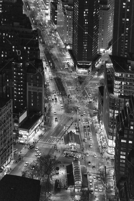 Busy junction in Manhattan, New York