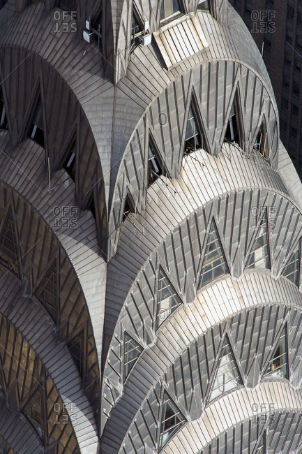 New York City, NY, USA - May 5, 2013: Detail of the Art Deco crown of the Chrysler Building