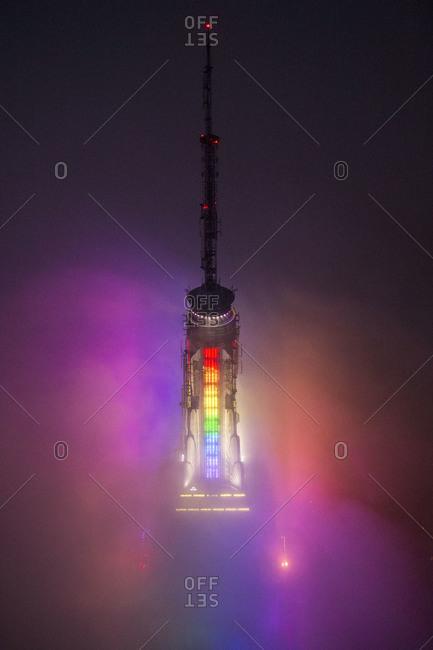 New York City, NY, USA - June 30, 2013: Light show at the Empire State Building at night in New York City, USA