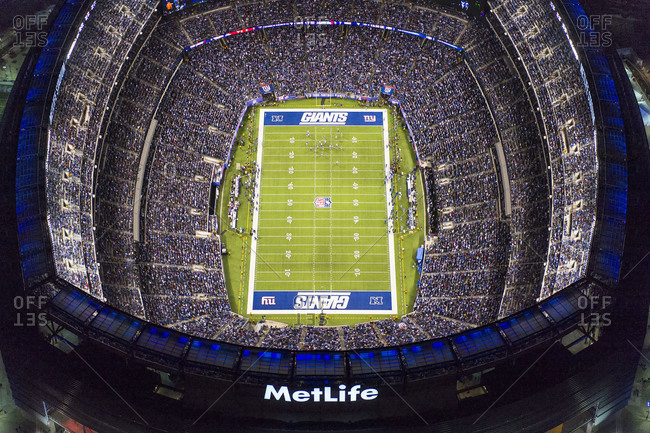 East Rutherford, New Jersey, USA - October 21, 2013: Bird's eye view of MetLife Stadium