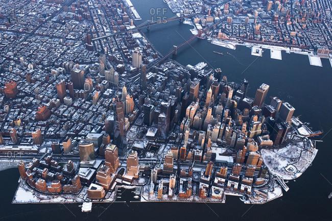 High-altitude of Lower Manhattan in winter