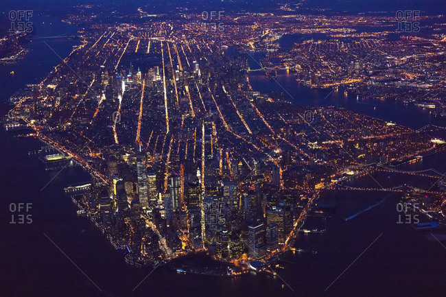 High-altitude view of Manhattan at night, NYC, USA