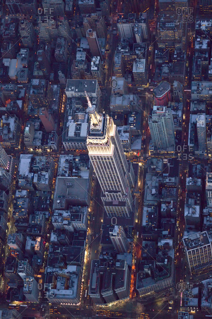New York City, NY, USA - March 25, 2014: High-altitude view of Empire State Building, NYC, USA