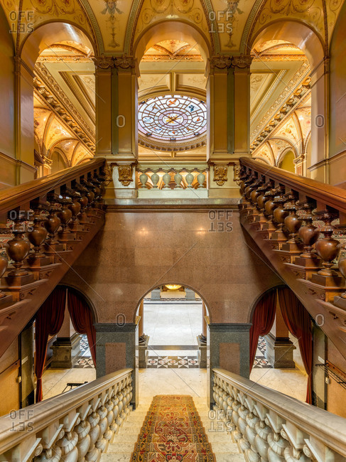 Wassenaar, Netherlands - May 20, 2015: View down a staircase inside historical Oud-Wassenaar castle