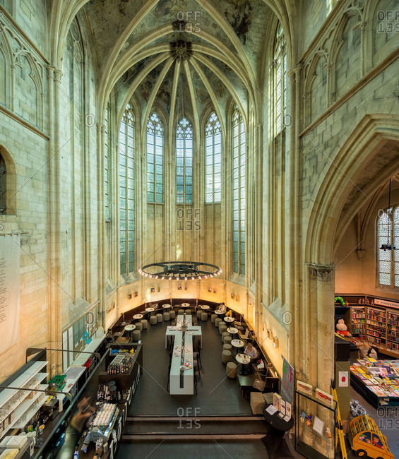 Maastricht, Netherlands - May 11, 2015: Overlooking a bookshop built in Basilica of San Dominico