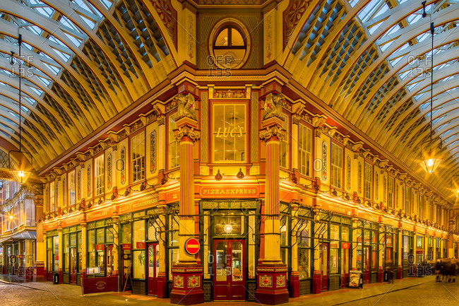 London, United Kingdom - March 8, 2013: Night shot of the famous monumental covered Leadenhall Market