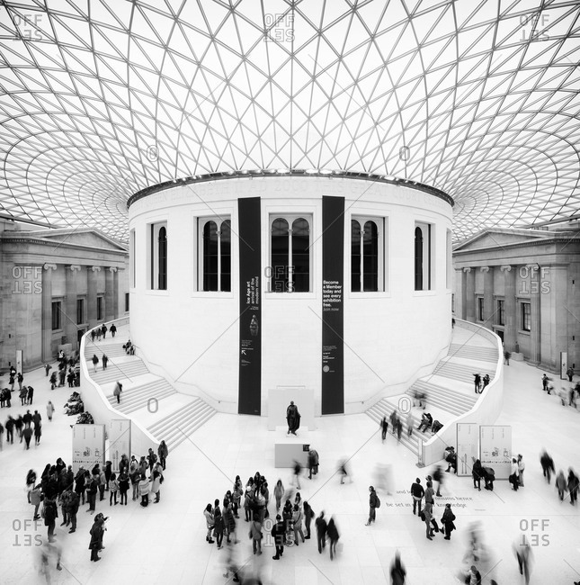 London, United Kingdom - March 7, 2013: People visiting the main court of the British Museum