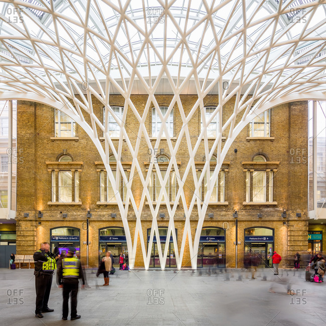 London, United Kingdom - March 8, 2013: Architectural detail of Kings Cross station
