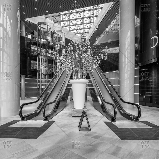 Rotterdam, Netherlands - May 27, 2015: Escalators inside the main hall of Delfse Poort
