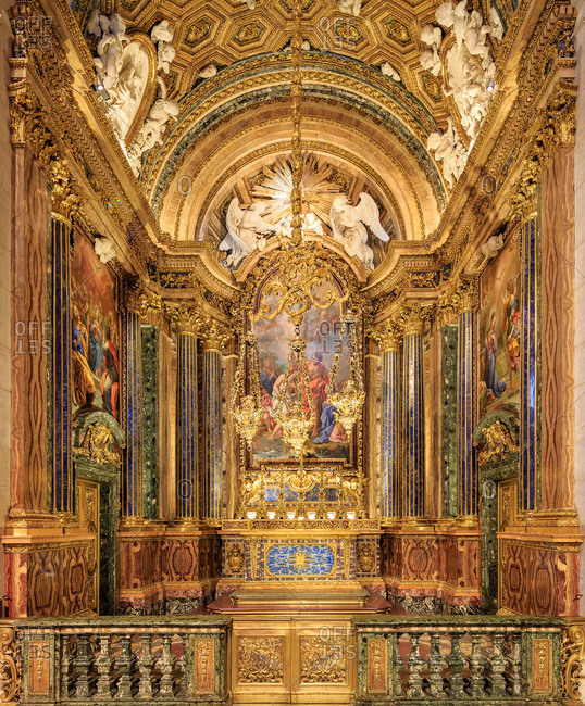Lisbon, Portugal - July 25, 2014: Ornate alter of the Sao Roque Church