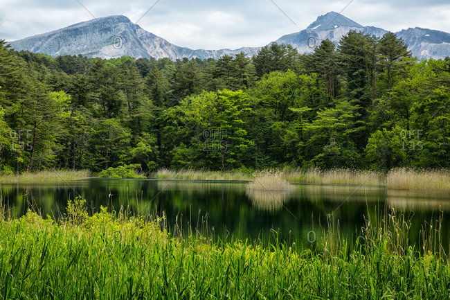A view of Mount Bandai and a Goshiki-numa lake in Fukushima, Japan