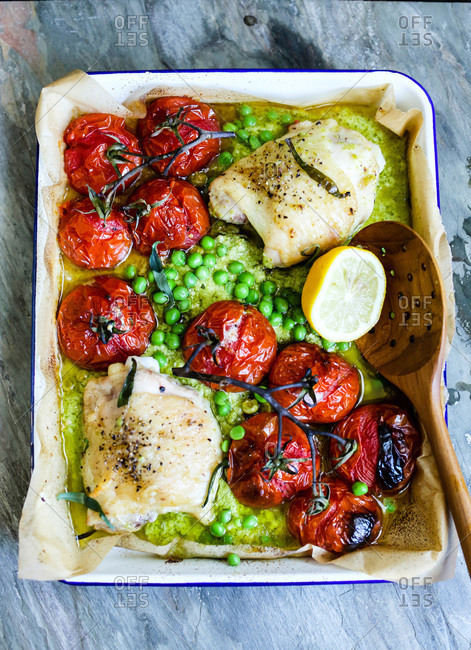 Baked chicken with snap pea pesto sauce