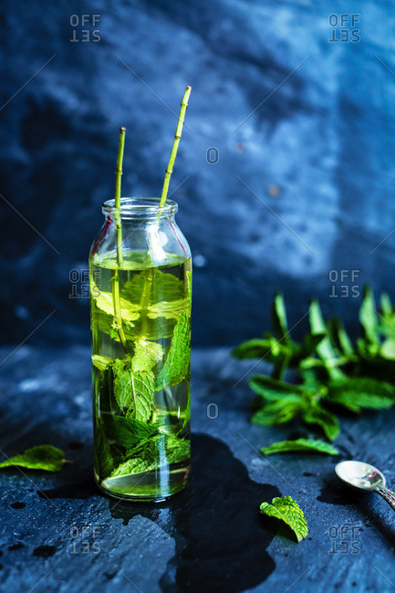 Syrup infused with mint