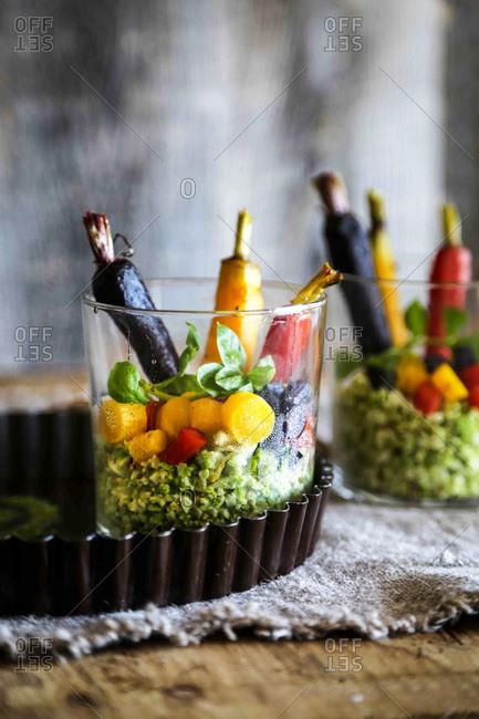 Romanesco rice, carrot salad with kale pesto