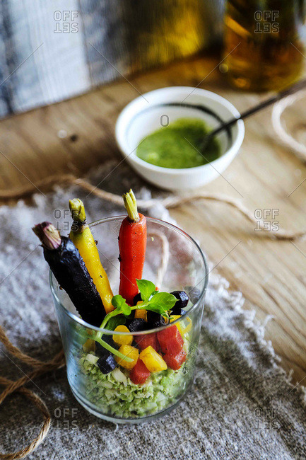 Romanesco rice with carrot salad and kale pesto