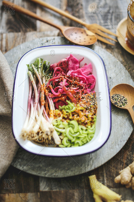 Ramp, red cabbage, celery kimchi
