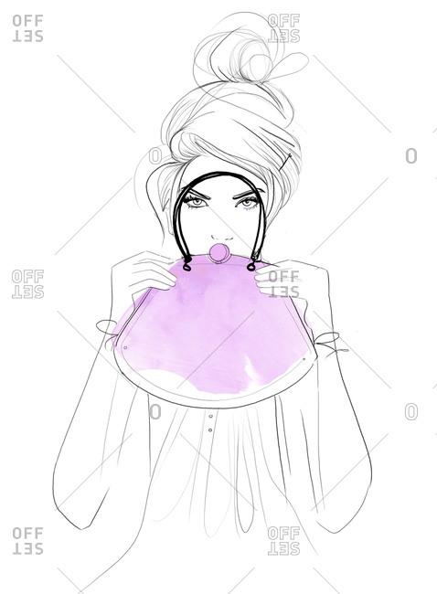 A woman holding a purse