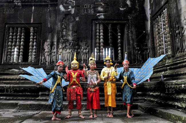 Angkor, Cambodia - September 15, 2012: Traditional Cambodian dancers