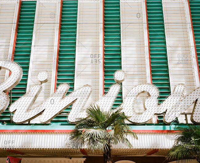 Detail of the facade of a casino in Las Vegas