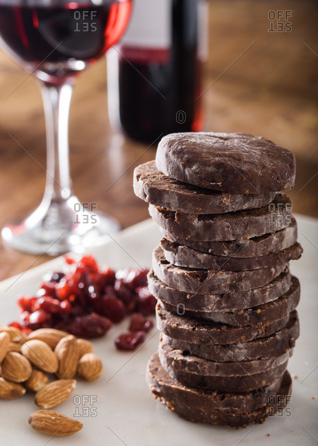 A stack of chocolate salami