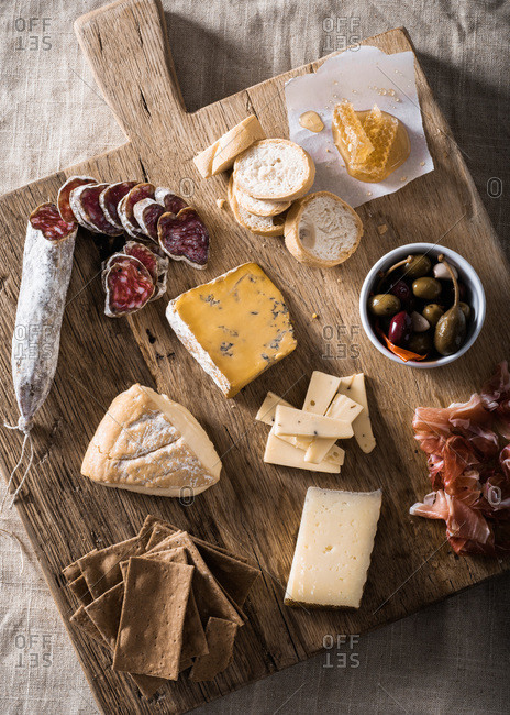 Meat and cheese charcuterie plate