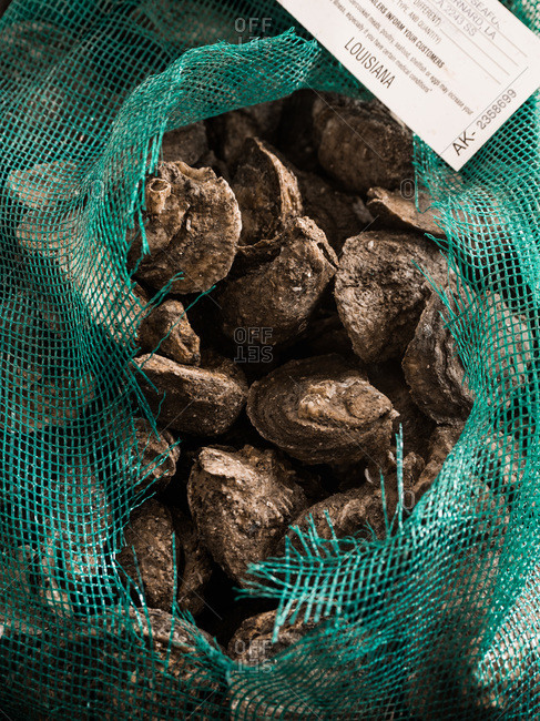 A bag of raw oysters