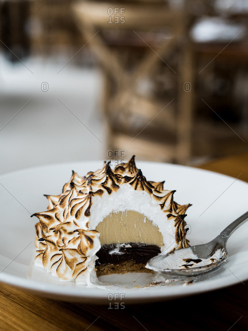The inside of a Baked Alaska cake